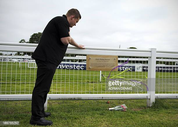 A man studies a plaque commemorating Emily Wilding Davison at Tattenham Corner at the Epsom Derby Festival in Surrey southern England on June 1 2013...