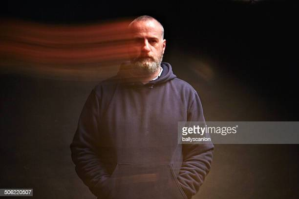 man, studio portrait, ghost image. - fantasma fotografías e imágenes de stock