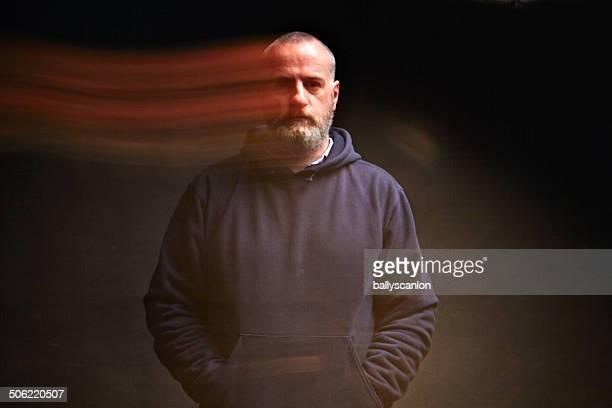 Man, Studio Portrait, Ghost Image.
