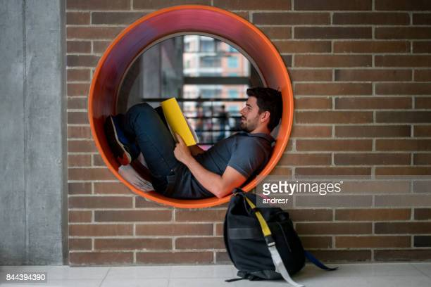 Man studying at the university