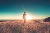 man sun business suit nature landscape