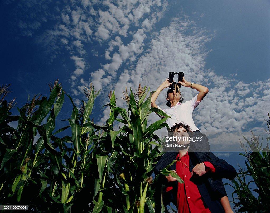 Man supporting woman using binoculars in corn field, low angle view : Stockfoto