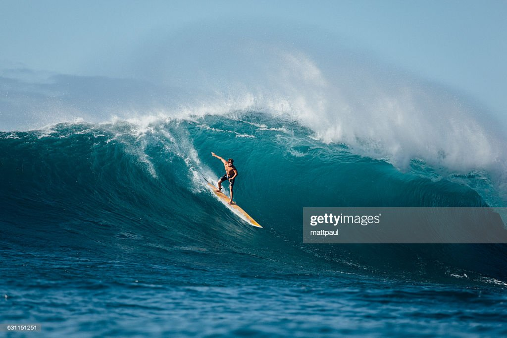 Man surfing wave, Waimea Bay, North Shore, Oahu, Hawaii, America, USA : Stock Photo
