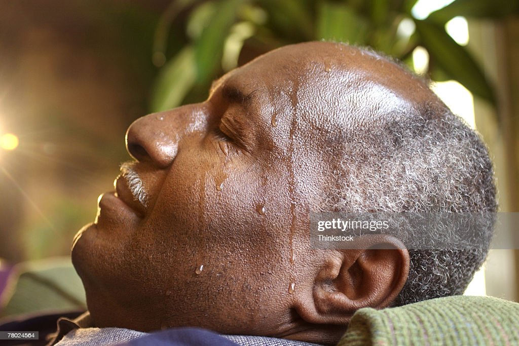 Man sweating as result of diabetes : Stock Photo