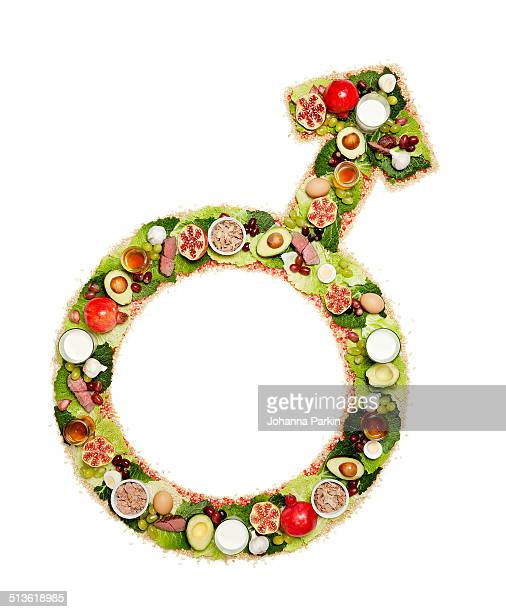 Man symbol made out testosterone boosting foods