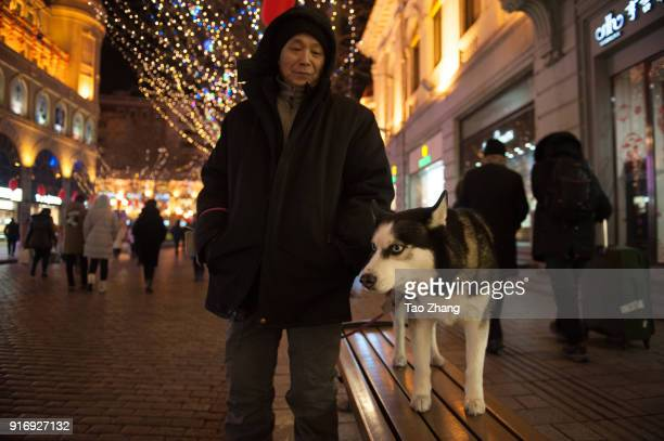 A man take dog at central street on February 11 2018 in Harbin China Chinese Spring Festival which will fall on February 16 the first day of the...