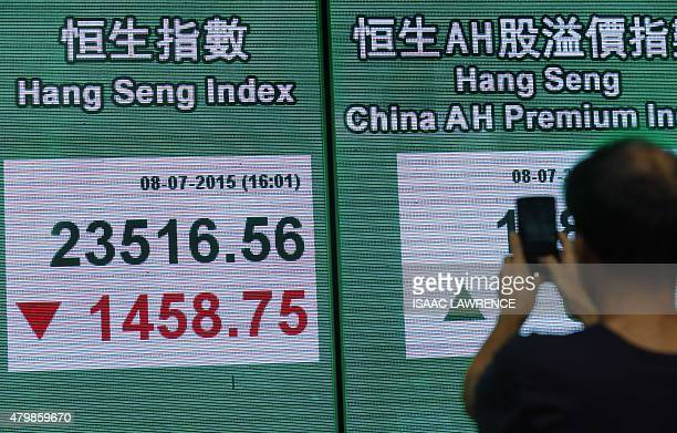 A man takes a photograph of an electronic board showing the Hang Seng Index in Hong Kong on July 8 2015 Hong Kong equities plunged almost six percent...