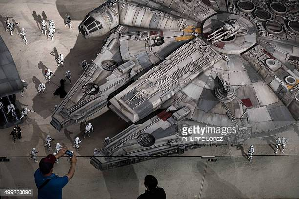 6 scale model of the Star Wars' Millennium Falcon spaceship displayed in a shopping mall in Hong Kong on November 30 2015 The new Star Wars movie...