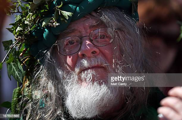 A man takes part in a Beltane May Day celebration in Glastonbury main street on May 1 2013 in Glastonbury England Although more synonymous with...
