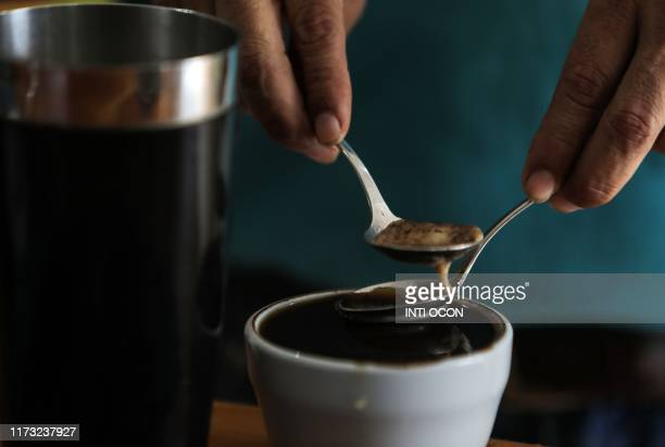 A man takes part in a coffee cupping session at Los Papales coffee farm in Jinotega Nicaragua on August 26 2019 Nicaragua is leading the way in the...