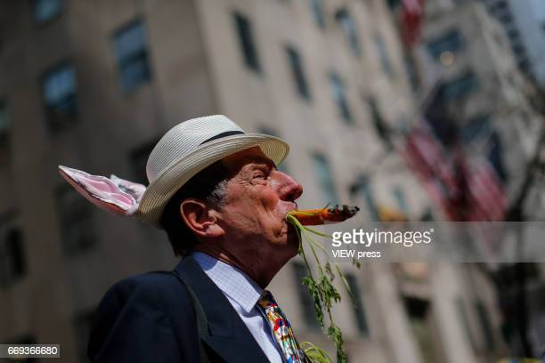 A man takes part in the Annual Easter parade on April 16 2017 in New York City The Easter Parade and Easter Bonnet Festival is characterized by...
