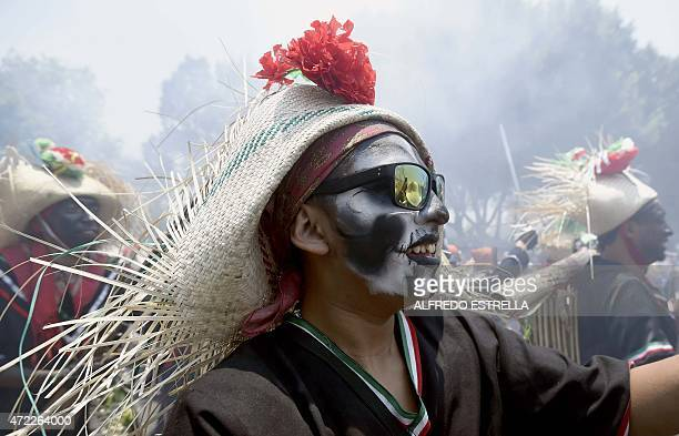 A man takes part in the commemoration of the anniversary of Mexico's victory over France in the Battle of Puebla in 1862 at Penon de los Banos...