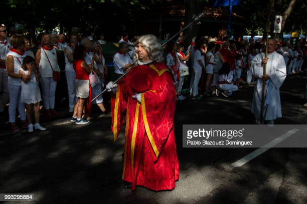A man takes part on the San Fermin procession on the second day of the San Fermin Running of the Bulls festival on July 7 2018 in Pamplona Spain The...