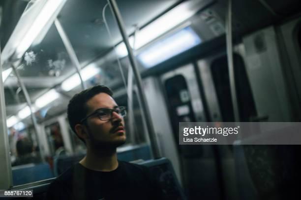 A man takes the subway