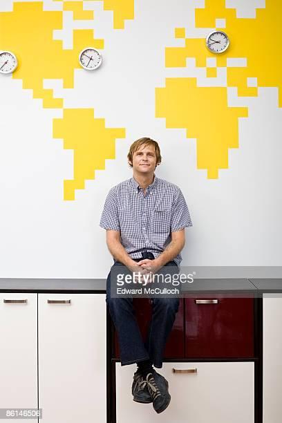 A man taking a break in an office