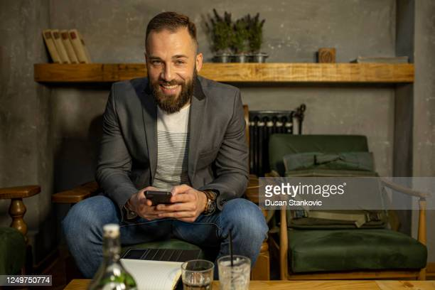 man taking a coffee break from work - dusan stankovic stock pictures, royalty-free photos & images