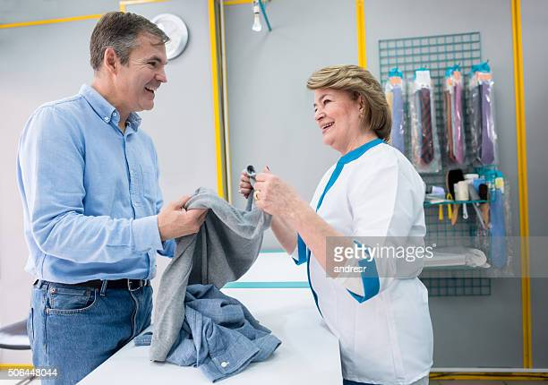 Man taking clothes to the laundry shop