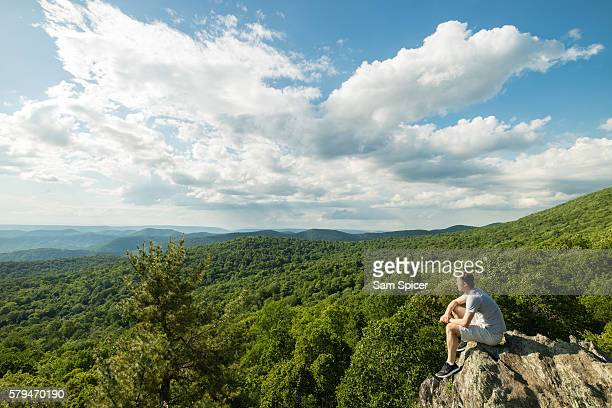 man taking photo on mountain summit overlooking lush green forest - skyline drive virginia stock photos and pictures