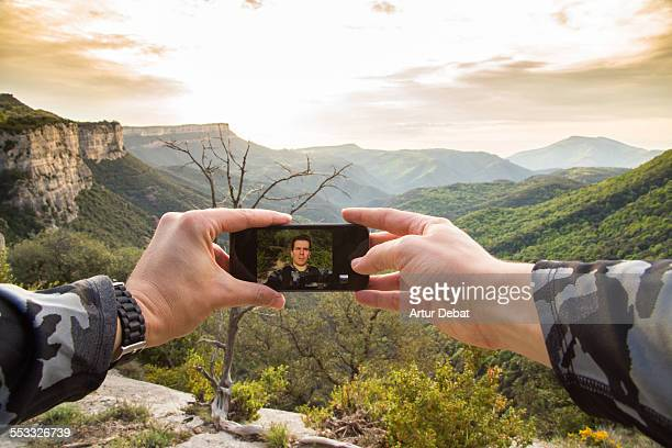 Man taking selfie on the Garrotxa mountains.