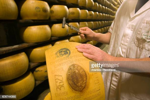 Man Tapping Parmigiano-Reggiano Cheese Wheel with Hammer