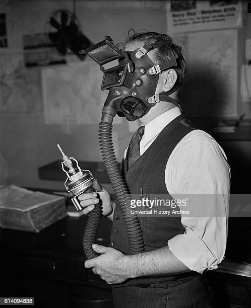 Man Testing New SandBlasting Mask Washington DC USA circa 1936