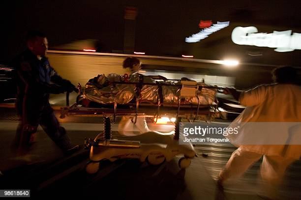 A man that was injured in a car accident arriving by helicopter and rushed to the trauma room for treatment at Grady memorial hospital on July 29...