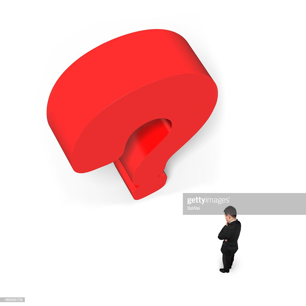Man thinking with huge 3D red question mark white background : Stock Photo