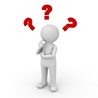 Man thinking with red question marks 518221379