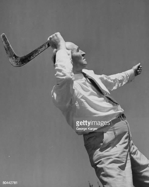 A man throwing a boomerang