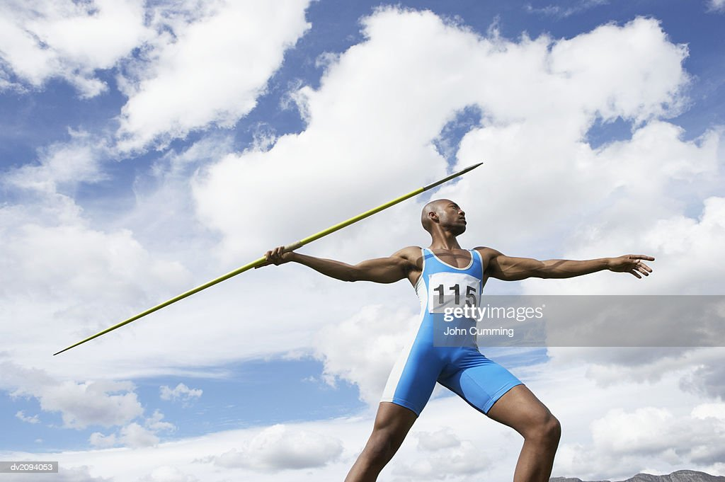 Man Throwing a Javelin : Stock Photo