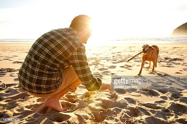 man throwing a stick for his dog. - bastoni foto e immagini stock