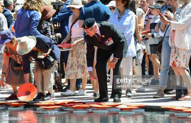 A man throws a poppy into the new water cascade at the Anzac Memorial on November 11 2018 in Sydney Australia Remembrance Day 2018 marks the...