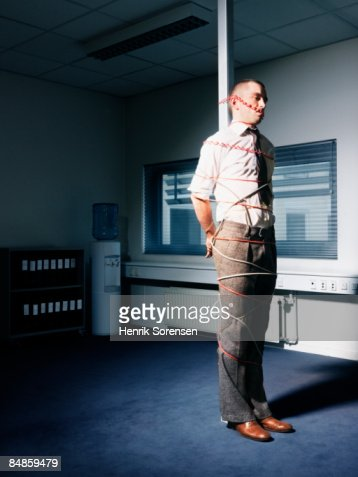 Man Tied Up In His Office Stock Photo Getty Images