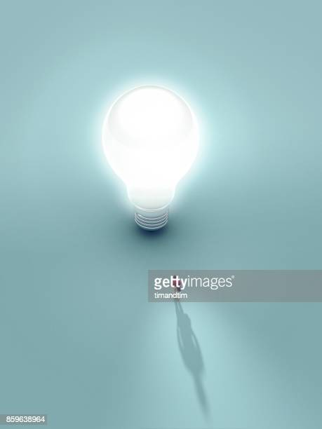Man touched by the light from a bulb