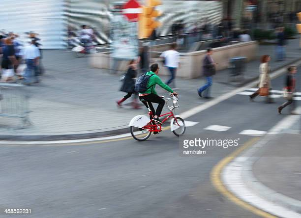 Man touring city on a bicycle