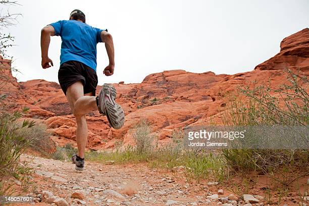 Man trail running.
