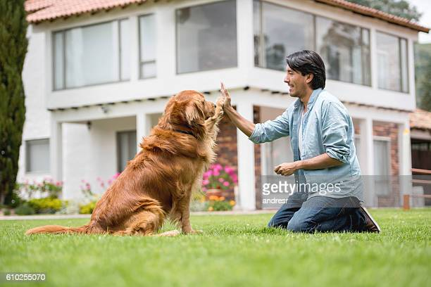 Man training a dog