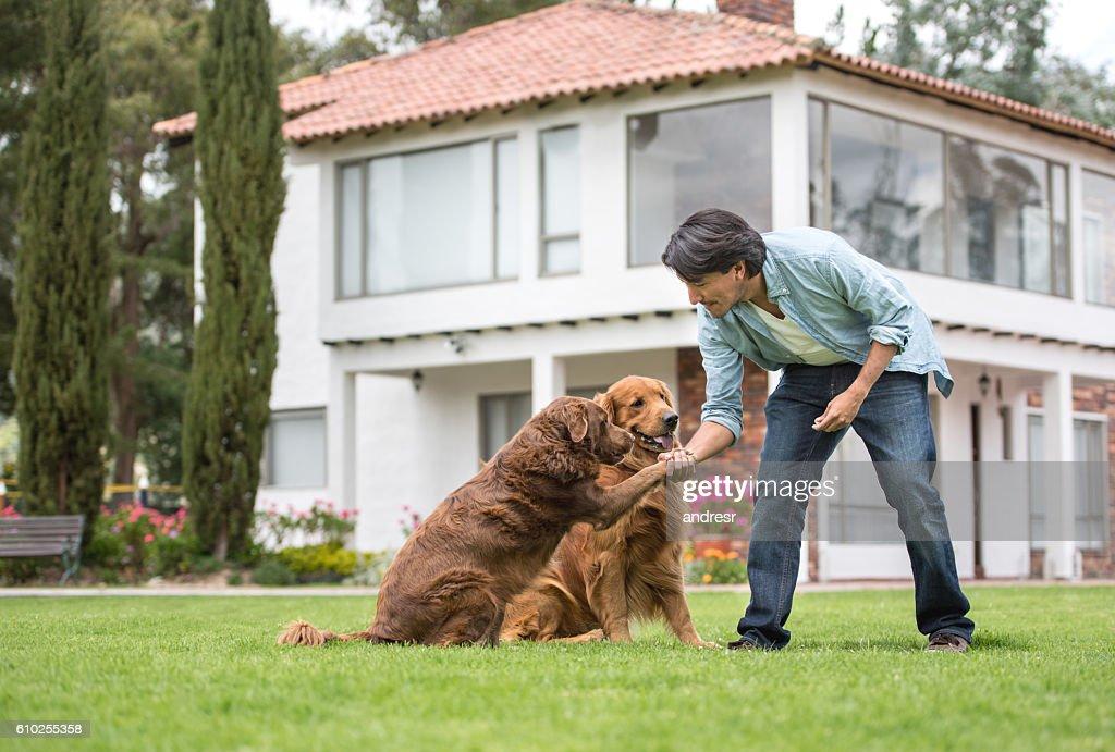 男の訓練犬 : ストックフォト