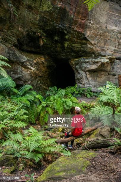 Man traveler in Blue Mountains national park