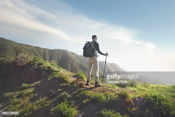 Man trekking, enjoying view, Tenerife
