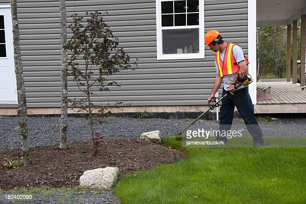 man trims grass wearing safety equipment - landscaped stock pictures, royalty-free photos & images