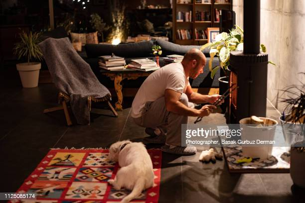 a man trying to light fire in a stove while a dog is sleeping on a carpet - dog turkey stock pictures, royalty-free photos & images