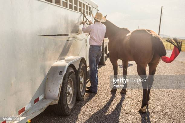 A man tying a rope for his horse, to a horse trailer.