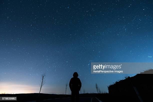 Man under Sky in Starry night