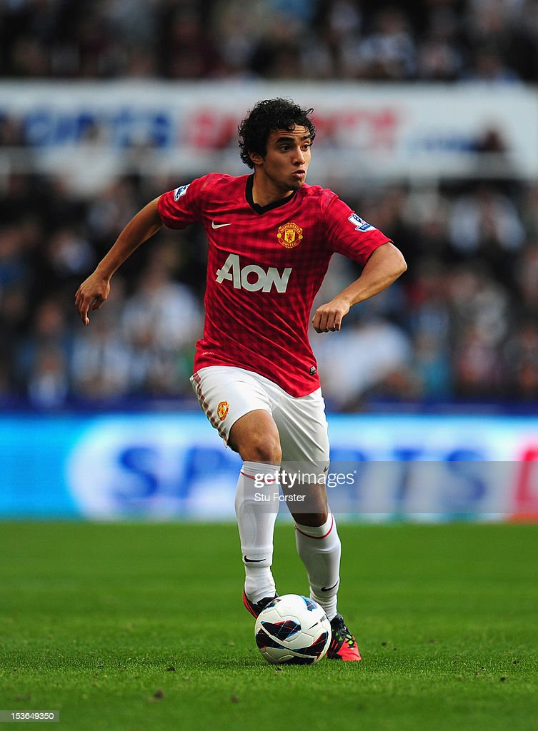 Man United player Rafael in action during the Barclays Premier league game between Newcastle United and Manchester United at Sports Direct Arena on October 7, 2012 in Newcastle upon Tyne, England.