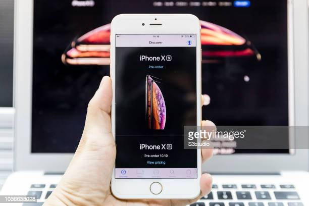A man uses Apple Store app to pre order the new iPhone Xs on September 14 2018 in Hong Kong Hong Kong