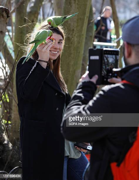 Man uses his camera phone to take a photo of a woman with parakeets on her head in St James' Park.