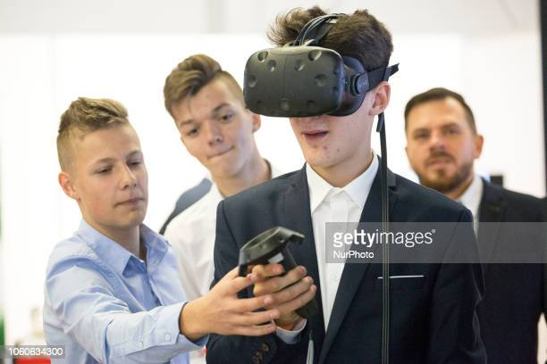 A man uses VR google during Warsaw Industry Week in Warsaw on November 8 2018