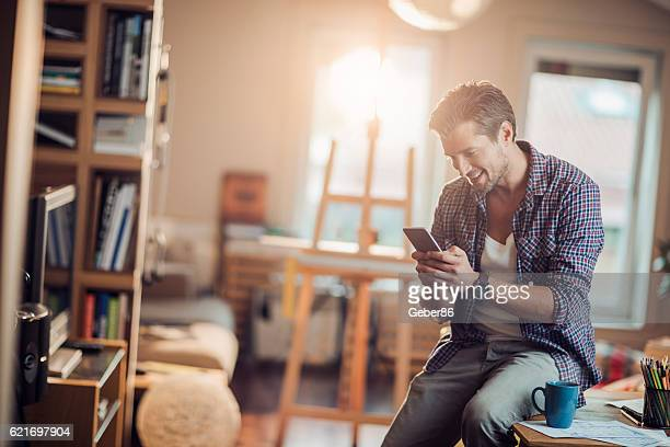 Man using a phone