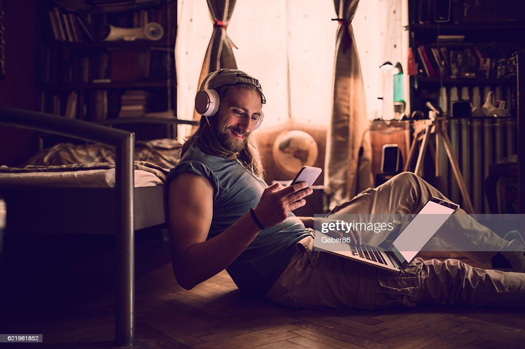 Man using a phone : Stock Photo